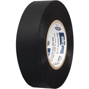 Shurtape EV 077 EV 77 Professional Grade All-Weather Vinyl Electrical Tape UL Listed/CSA Approved 7.0 Mil Black 3/4 Inch x 66 Feet 1 Roll 104706